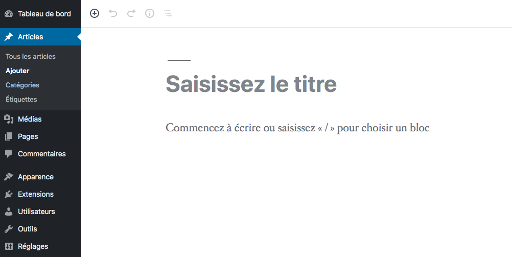 Creer nouvel article WordPress
